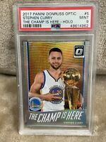 Stephen Curry⚡️2017 Panini Donruss Optic Champ Is Here Holo Prizm PSA 9 Mint🔥