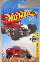 2018 Hot Wheels #122 Legends of Speed 3/10 BONE SHAKER Red w/Black St8 Spoke Whl