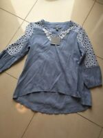 Women's NWT Andrew Marc New York Blouse Size PM Light Blue