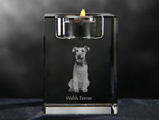 Welsh Terrier, crystal candlestick with dog, souvenir, Crystal Animals Usa
