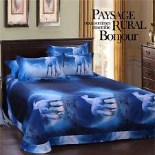 3D Duvet Quilt Cover Pillowcase Bedding Set Queen Double Size Blue Unicorn L