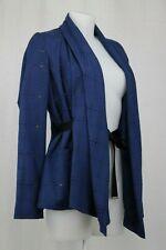 Maison Martin Margiela Blue Wool Light Tartan Wrap Around Jacket Size 10 UK/ 38