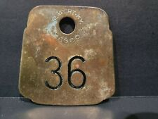 Vintage Hasco Brass Cow Tag #36 Newport KY Double Sided