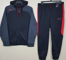NIKE HYPERSPEED THERMA-FIT SUIT HOODIE + PANTS BLACK RED GREY NEW (SIZE LARGE)