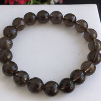 10mm 28g Natural dark smoky Quartz Crystal faceted Bead Bracelet Healing AAAA