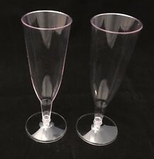 504 - CLEAR PLASTIC CHAMPAGNE GLASSES FLUTES - PARTY