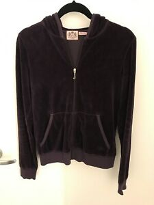 Juicy Couture Velour Eggplant Purple Jacket - Size L (Runs Very Small)