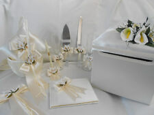 10 Pcs Ivory Calla Lily Flower Girl Basket Ring Pillow guest Book Pen Card Box++