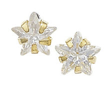 Unique Wishlist 9ct Yellow Gold Clear Cubic Zirconia 4x4 Star Studs GER227A