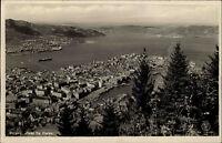 Bergen Hordaland Norwegen Norge ~1930/40 Hafen Havn Panorama Utsikt ungelaufen