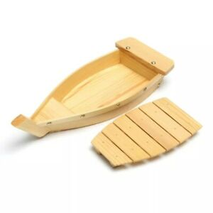 Japanese Style  Boat Shaped Wooden Sushi Plate For Serving Dishes Snacks