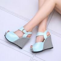 Fashion Womens Platform Peep Toe Wedge Heels Ankle Strap Shoes Summer Sandals Sz