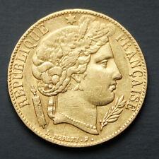Pièce Or 20 Francs Cérès Années 1850 ou 1851 Atelier de Paris Louis d'Or France