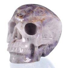 "5.12""Natural Chevron/Amethyst Cluster Skull carving,Reiki Healing 26Y95"