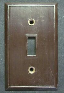 Hemco USA H-1018 Brown Bakelite Switch Wall Plate Cover Fine Lines Ribs Antique