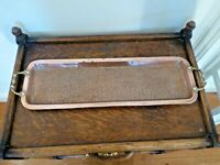Vintage Copper Tray With Brass Handles 62cm x18cm