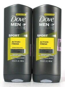 2 Dove 13.5 Oz Men Care Sport Care Active Fresh Micro Moisture Body Face Wash