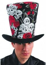 Day of the Dead Skull & Roses Top Hat Halloween Voodoo Fancy Dress Adults Fabric