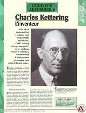 Charles Kettering Inventor General Motors Ethyl Corp. USA Auto Car FICHE FRANCE