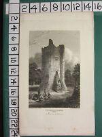 1813 DATED ANTIQUE YORKSHIRE PRINT ~ CONISBROUGH CASTLE
