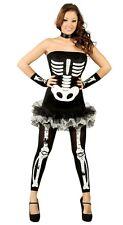 Ladies Sexy Skeleton Tutu + Leggings Halloween Fancy Dress Costume Outfit 12-14