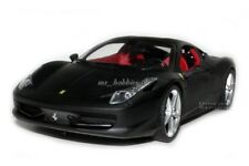 FERRARI 458 ITALIA COUPE 1/18 MATT BLACK DIE CAST MODEL BY HOT WHEELS T6921