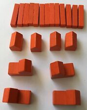 Settlers of Catan Orange Road City Settlement Wood Replacement Game Part Piece