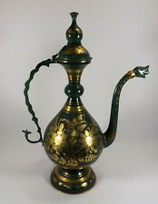 """Vtg. Coffee Pot Indian Moroccan Solid Brass & Green Enameled 17 1/2"""" Tall Beauty"""