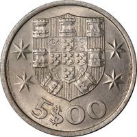 Portugal 1964 5 Escudos, KM #591,  Unc - Enviro Damage