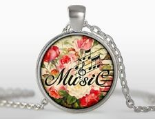 Glass Dome Cabochon Pendant Chain Charm NECKLACE Music Key Note Clef Symbol N251