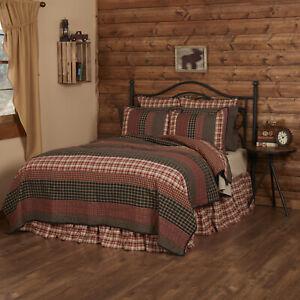 VHC Brands Rustic California King Quilt Red Patchwork Beckham Hand Bedroom Decor