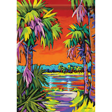 "Palm Tree Coastal Sunset House Flag 40"" x 28"""