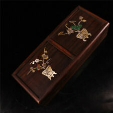 "9.84"" Collection China wood Hand carving inlay shell flower Jewelry Storage box"