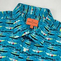 Simon Carter Men's Boats Ships Button Shirt Long Sleeve Blue Slim Fit • 17.5