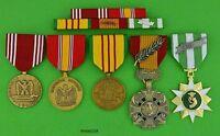 5 U.S. ARMY VIETNAM MEDALS & RIBBON BAR - Good Conduct, Gallantry Cross, VCM  T1
