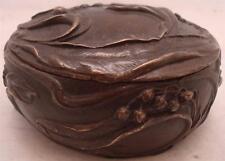 ART NOUVEAU STILE bronzo solido PORTAGIOIE W / Coperchio-disegno floreale