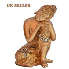 ST ORO dhyan posa Statua di Buddha in resina riposo Buddah Statua Ornamento UK