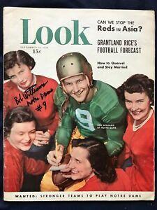 Bob Williams Notre Dame quarterback in 1950 signed LOOK magazine 11/12/50