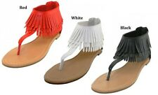 WOMENS HANGING TASSEL FAUX SUEDE THONG SANDALS 6 7 8 9 10 11 BLACK RED WHITE