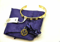 NWT Tory Burch Pierced T Cuff Bracelet Bangle Shiny Gold with Pouch Free Ship