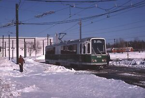 MBTA 3420 at Riverside on day two of LRV service 1976 Original Kodachrome Slide