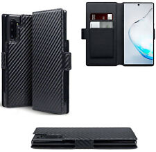 PU Leather Wallet Case Cover Black Carbon Fibre For Samsung Galaxy Note 10