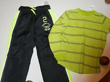 NWT GAP KIDS Athletic Pants and Top Black and Green Set Outfit Size XS (4-5) NEW