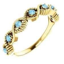 14K Yellow Gold Gemstone Stackable Ring Size 7