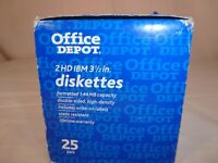 """New Never Used Box (25) 2 HD IBM Formatted 1.44MB 3.5"""" Computer Discs Diskettes"""