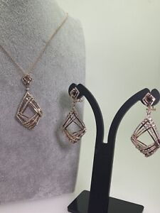Rose Gold & Diamond Vintage Set: Pair of Earrings & Pendant on Matching Chain