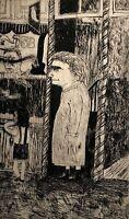 RALPH DUBIN 1919-1988 NEW YORK FIGURE PORTRAIT TICKET BOOTH MODERNIST ETCHING