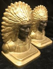 Antique Indian Chief Native American Metal two tone Book ends Bookends