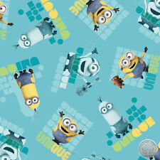 140138929 -New Minion Movie Le Buddies Unique Turquoise Quilt Fabric By The Yard