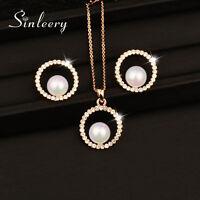 Redondo Cristal Perla Colgante Collar Arete Conjunto de joyas Fiesta de bodas